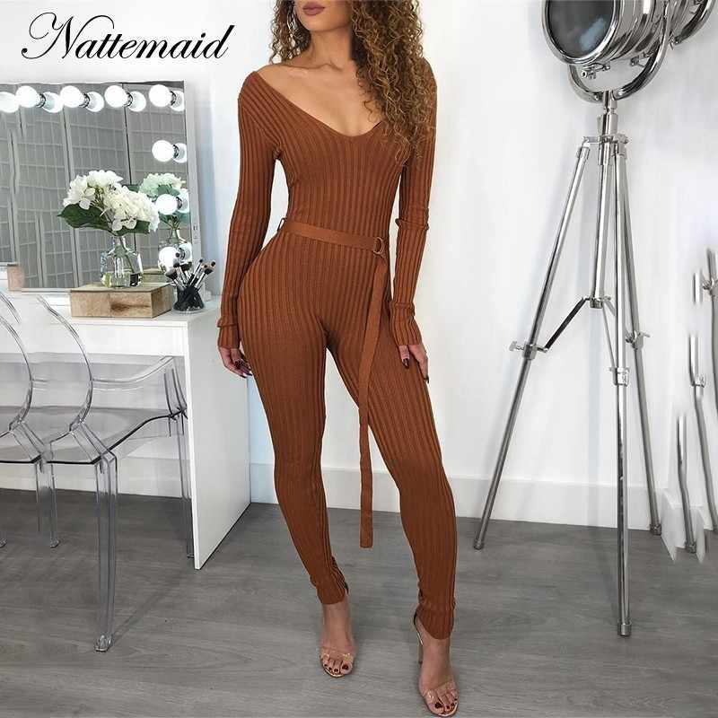 fdf8060502c4 NATTEMAID Sweater Knitted Jumpsuits For Women 2018 Winter Rompers Womens  Jumpsuit Off Shoulder Long Sleeve Bodycon