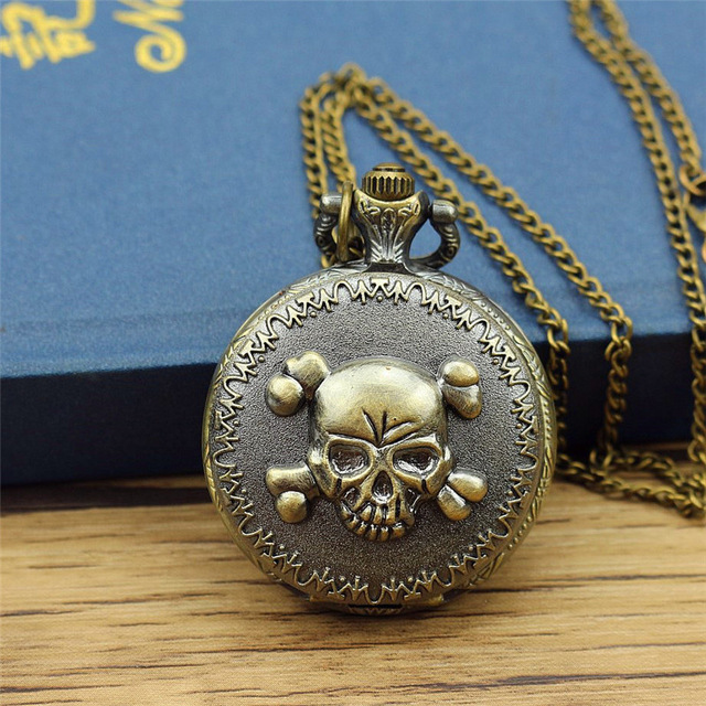 Nazeyt Free Shipping Steampunk Skull One Piece Pocket Watch Cartoon Anime Watch One Piece Pocket Watch Quartz Movement Fob Watch