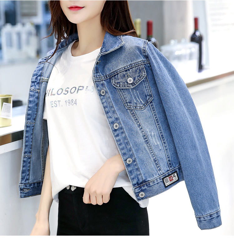 New   basical     jacket   Denim Coats Clothes Turn-down Collar Women Crop Top Solid Slim Long Sleeve Ladies   Jackets   2019