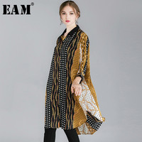 [EAM] 2019 New Spring Summer Stand Collar Three quarter Sleeve Pattern Printed Loose Big Size Shirt Women Blouse Fashion JO392