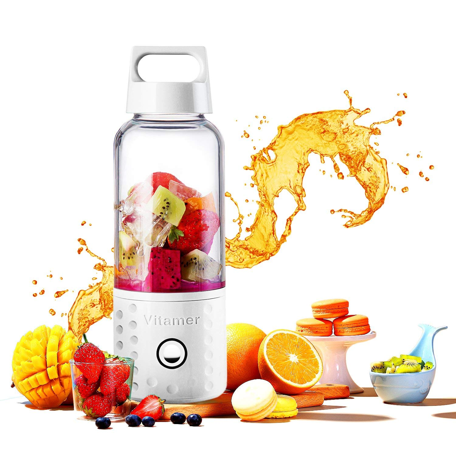 Portable Blender, Smoothie Blender USB Juicer Cup, 17oz Fruit Mixing Machine With 4000mAh Rechargeable Batteries, Detachable C