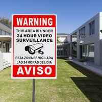1pcs 20X30cm Metal 24 Hour Video Surveillance Security Warning Sign CCTV Camera Sign