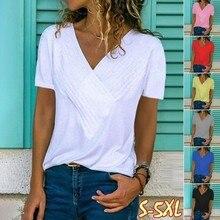 2019 new fashion Hot Slim Splicing V-neck Short Sleeve Solid Color Women's tshir