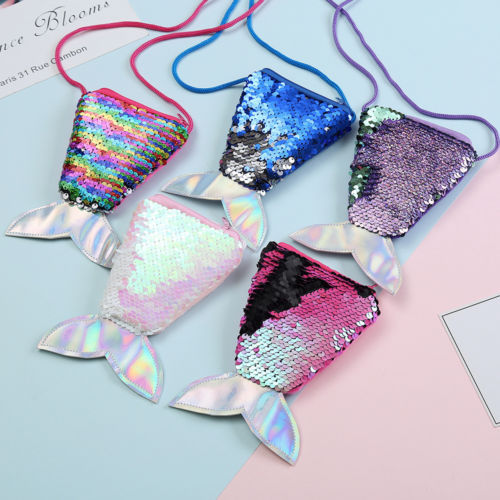 2019 Kid Girl Colorful Coin Purses Change Sequin Mermaid Tail Bag Wallet Purse Pouch Notecase Cute Fashion Lovely New Sale