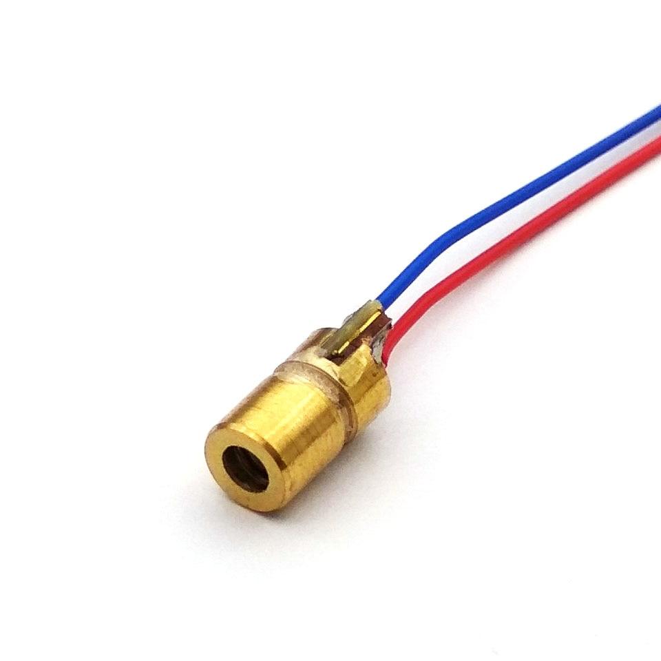Laser Diode 650nm 6mm 3V 5mW Adjustable Laser Dot Diode Module Red Copper Head 3v