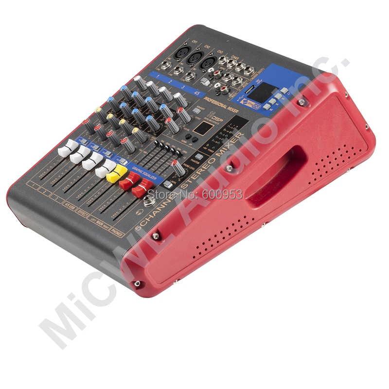Красный 1200 Вт 5 канальный караоке этап мощность смеситель микшерный пульт Звук голоса процессор беспроводной Bluetooth PMR501-AMP