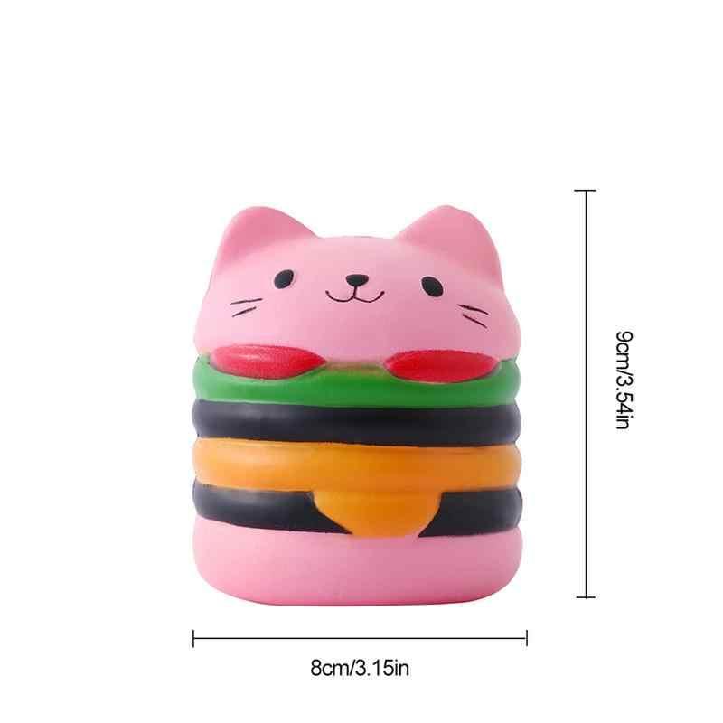 9,5 CM lento Rising lindo Jumbo apretar deliciosa hamburguesa oso gato correas del teléfono DIY decoración de pan de los niños de juguete de regalo