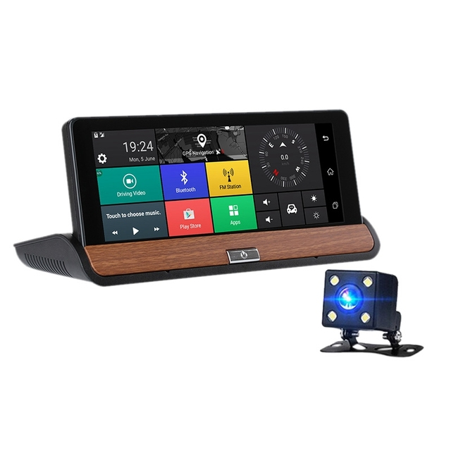Center Console Navigator Dual Lens Hd Night Electronic Dog 7 Inch Driving Recorder Bluetooth Model: 681 With Reversing Photogr
