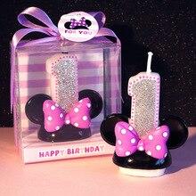 Цифры 0-9 мультфильм Минни свечи для детей день рождения торт Топпер украшения безопасный бездымного 1 шт./лот LG001