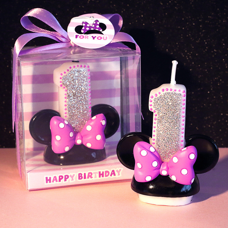 Number 0 - 9 Cartoon Minnie Candles for Children Birthday Party Cake Topper Decorations Safe Smokeless 1pcs/lot LG001(China)