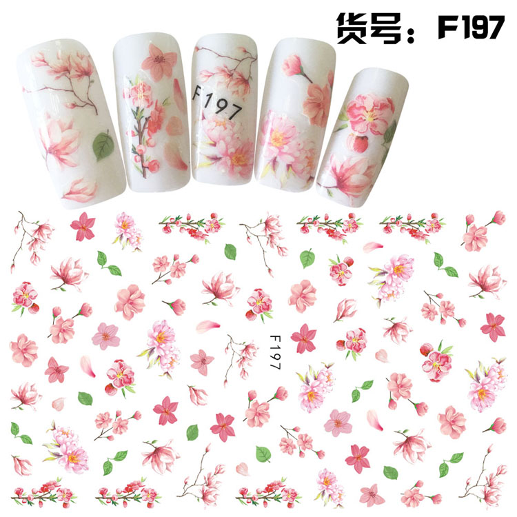 1 Sheet Embossed 3D Nail Stickers Blooming Flower 3D Nail Art Stickers Decals Adhesive Manicure Nail Art Tips Decoration in Stickers Decals from Beauty Health