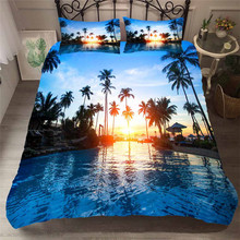 Bedding Set 3D Printed Duvet Cover Bed Set Beach Coconut Tree Home Textiles for Adults Bedclothes with Pillowcase #HL19 beach style dusk coconut tree pattern square shape pillowcase