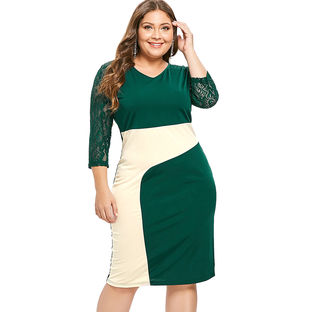 8a7f8f29d Wipalo Plus Size Lace Sleeve Color Block Casual Dress Women V-Neck Bodycon  Dress High