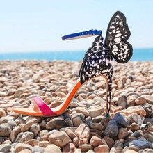 Newest 2019 Multicolored Embroidered Butterfly Sandals Blue Ankle Strap Stiletto Heel Wing Women Wedding Shoes Bride