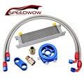 SPEEDWOW 10 РЯД передачи гонок масляный радиатор + Масляный фильтр охладитель Сэндвич адаптер + AN10 поворотный топливный шланг комплект
