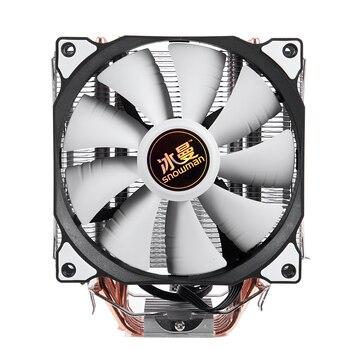 Bonhomme de neige 4PIN refroidisseur de processeur 6 heatpipe ventilateur simple refroidissement 12cm ventilateur LGA775 1151 115x1366 prise en charge Intel AMD