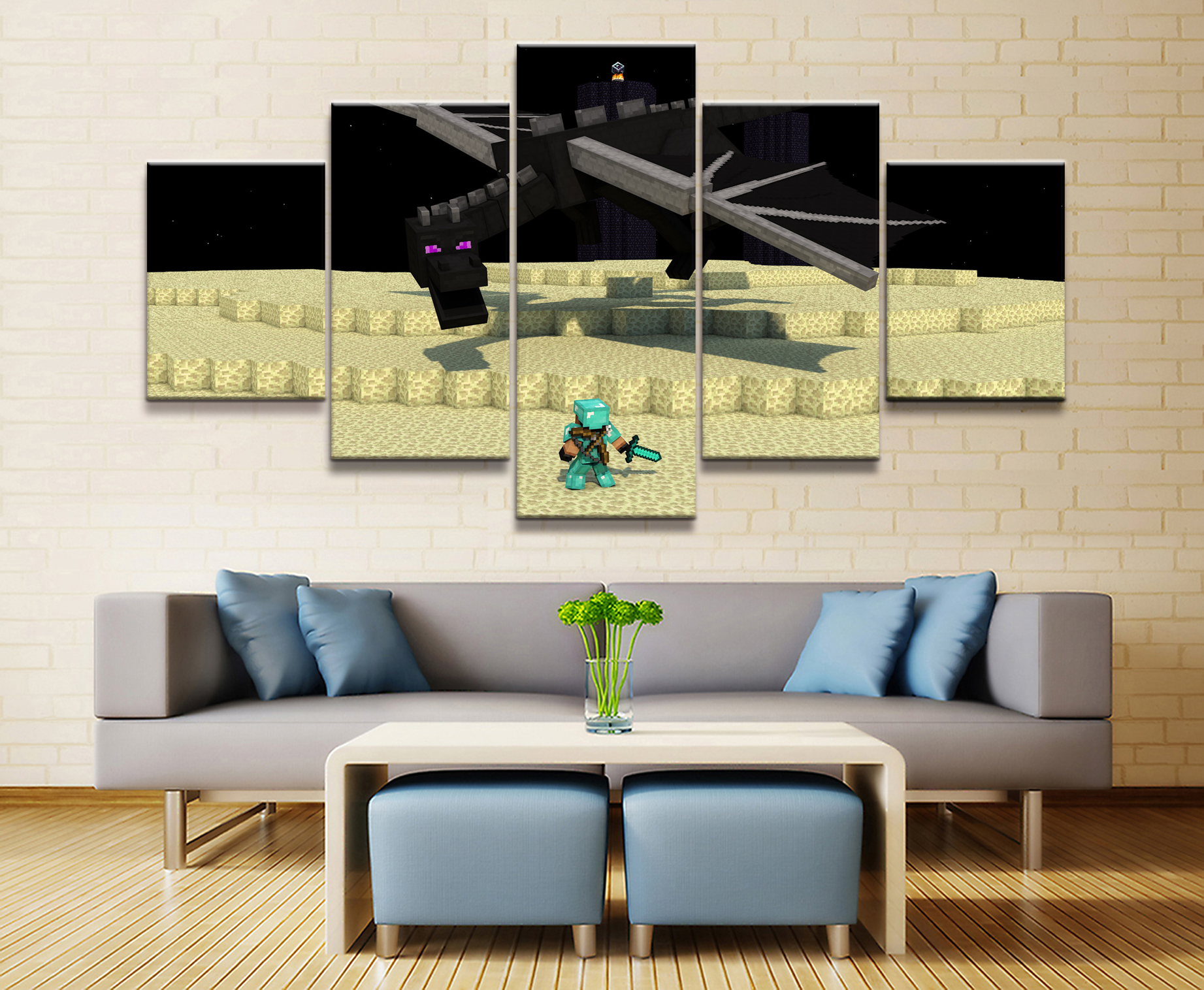 Canvas Printed Game Poster Minecraft 5 Pieces Wall Art Canvas Painting Home Decor For Living Room Artwork EnderDragon Wall Decor in Painting Calligraphy from Home Garden