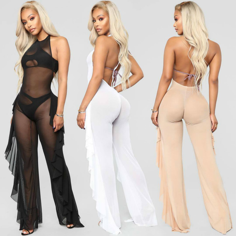 MUXU black transparent bodysuit rompers womens jumpsuit one piece clothes combinaison sexy party playsuits backless clothing