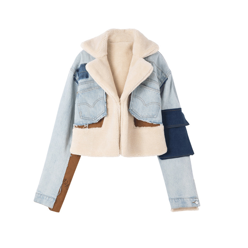 Manches As Féminine Poche Coat Style De Hit Veste Femmes Coréen 2018 Manteaux Automne Longues Patchwork Mode menkay Picture Irrégulière Couleur Denim Bxp4X4