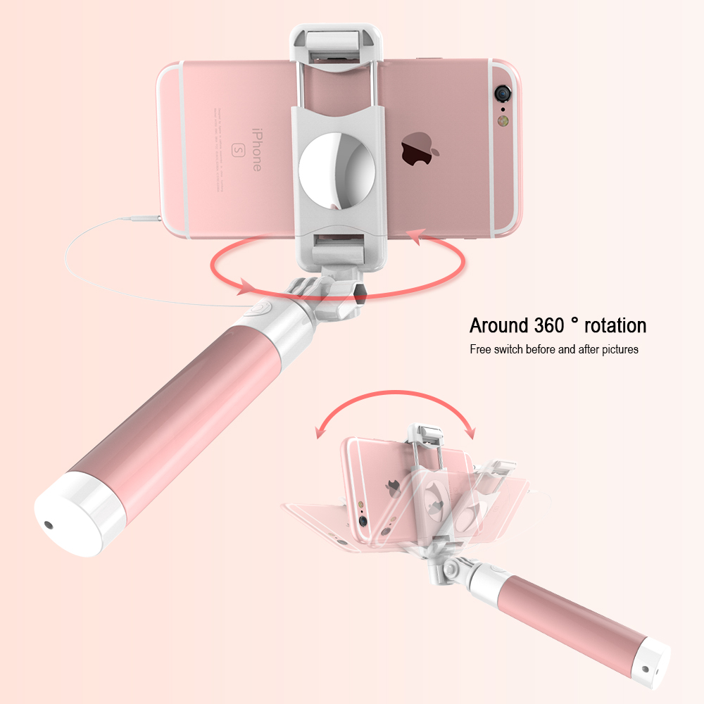 CASEIER Universal Wired Selfie Stick For iPhone 5s 6 6s For Samsung Xiaomi Huawei Mirror Stick Foldable Portable Selfie Stick in Selfie Sticks from Consumer Electronics