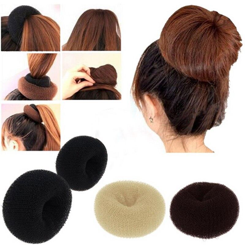 WOMEN HAIR BUN RING DONUT SHAPER 3 SIZE IN PACKAGE. BLACK