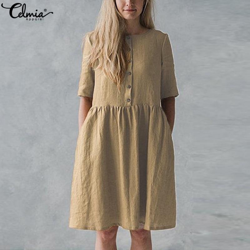 5XL Celmia 2019 Summer Vintage Linen Dress Women Short Sleeve Buttons Solid Casual Party Long Shirt Dresses Vestidos Plus Size