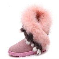 Зимние женские теплые ботинки, теплые ботинки до середины икры, повседневные женские ботинки из флока на резиновой подошве