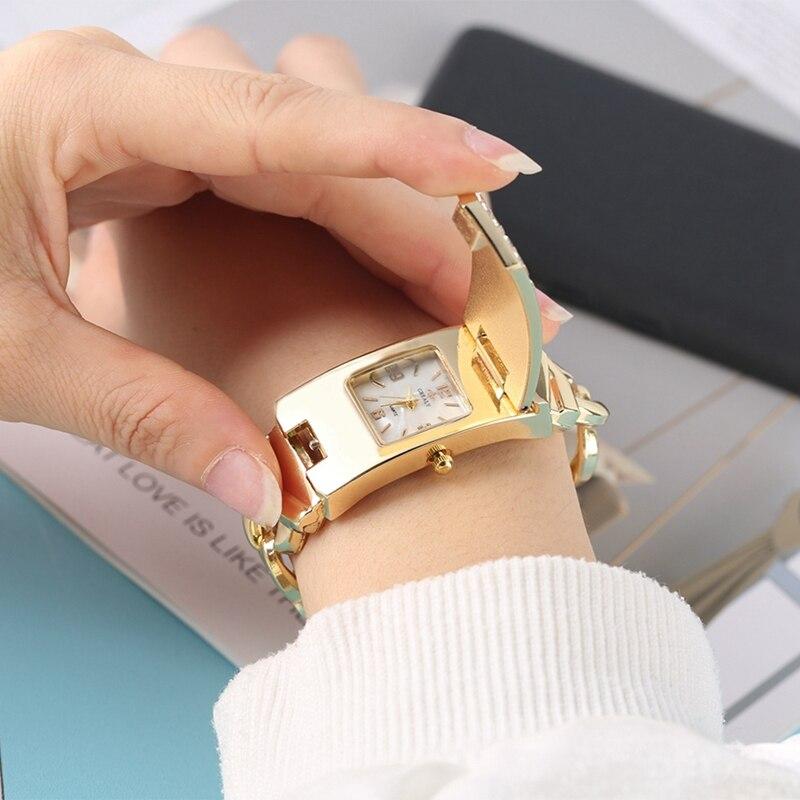Nuevo reloj de pulsera con tapa cuadrada plateada de lujo con diamantes incrustados de cristal de moda, reloj dorado para mujer, relojes femeninos vrouwen HOMFUN taladro cuadrado/redondo completo 5D DIY pintura de diamante