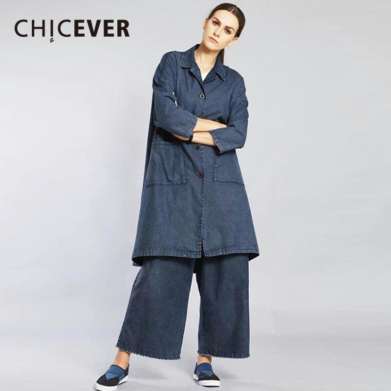 CHICEVER Denim deux pièces ensemble femmes costume à manches longues lâche grande taille manteau femme avec taille élastique large jambe pantalon vêtements nouveau