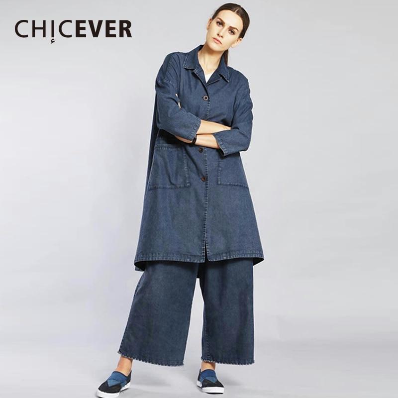 CHICEVER Denim Two Pieces Set Women Suit Long Sleeve Loose Big Size Coat Female With Elastic Waist Wide Leg Pants Clothes New