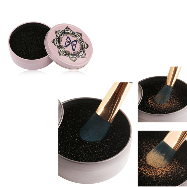 Makeup Brush Cleaner Quick Color Off Sponge Aluminum Box Make Up Brushes Cleaning Powder Washing Eye shadow Sponge Cleaner Tool 1