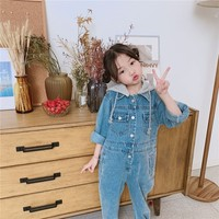 Baby Girl Jumpsuit Casual Hood Romper For Girls 2019 Spring Autumn Denim Overalls For Girls Toddler Kids Clothing Infant Clothes
