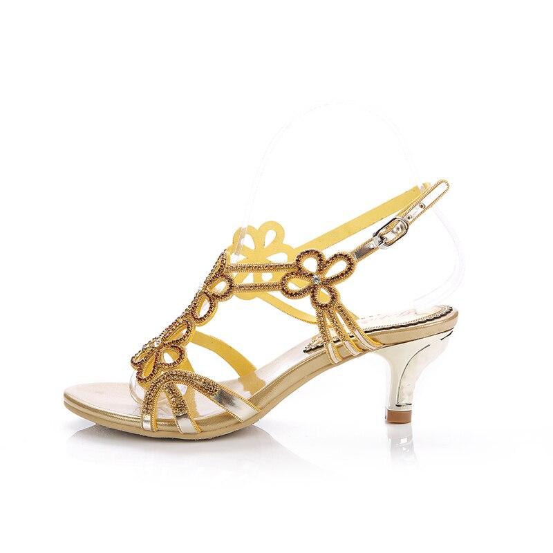 Pouces Talons 2 Match Demoiselle Strass Heels Minces Belle Talon Moyen Tous Or Gold Danse D'honneur De 6cm Les Confortable Cristal Sandale Chaussures 4Yn5qwFz8