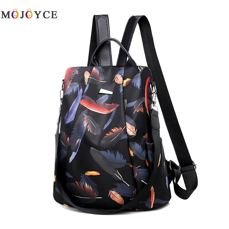 Anti-thief Feather Print Backpack Female Oxford Cloth Waterproof Travel Casual Schoolbag