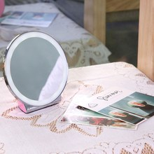 LED Makeup Mirror Portable Natural Light Dimmable Desktop Cosmetic Makeup Mirror USB Charging LED Lamp(China)