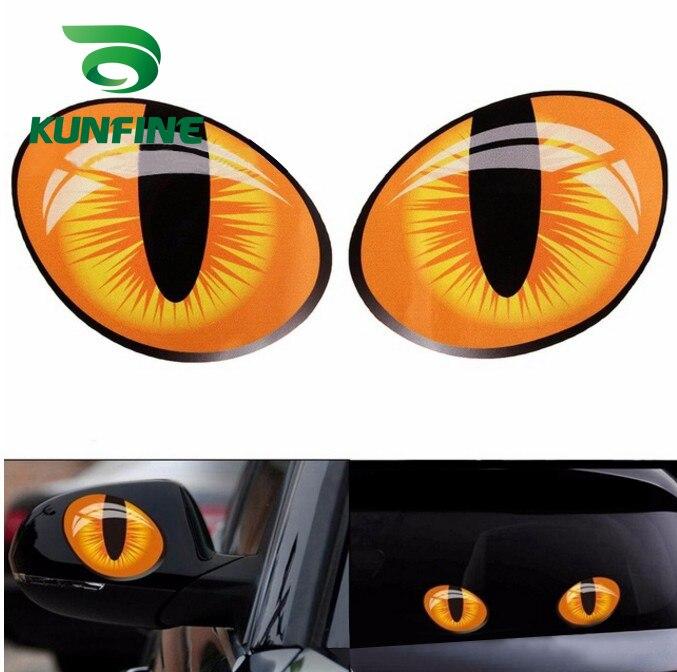 Пара стикеров для стайлинга автомобиля, автомобильные стикеры «кошачий глаз», 3D Виниловые наклейки для автомобильной головки, крышки двига...