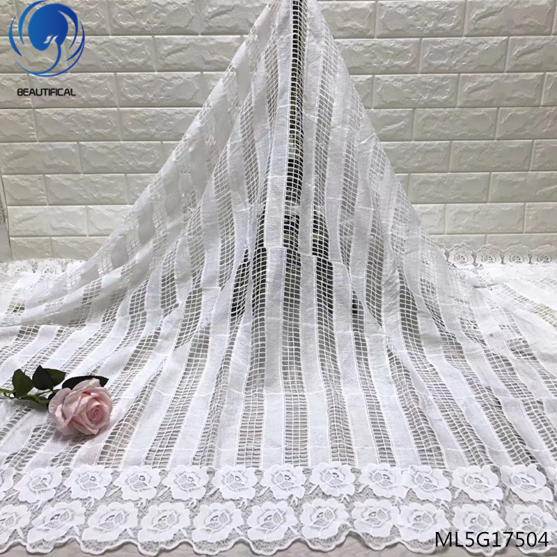 BEAUTIFICAL White Milk Silk Nigerian Lace Fabrics For Wedding Dress African Cord Lace Fabrics High Quality Guipure Lace ML5G175BEAUTIFICAL White Milk Silk Nigerian Lace Fabrics For Wedding Dress African Cord Lace Fabrics High Quality Guipure Lace ML5G175