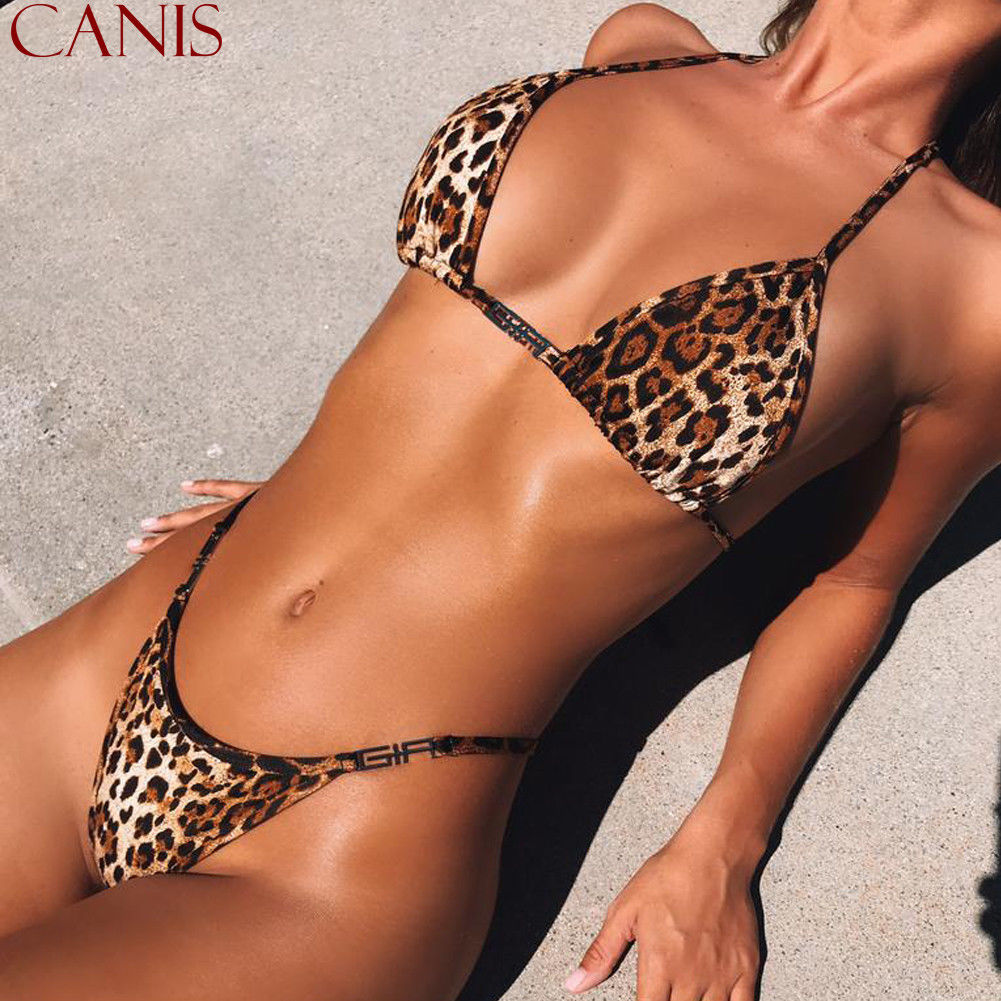 Thefound 2019 New Women Sexy Leopard   Bra     Set   Push-Up Padded Swimwear Swimsuit Bathing Beachwear