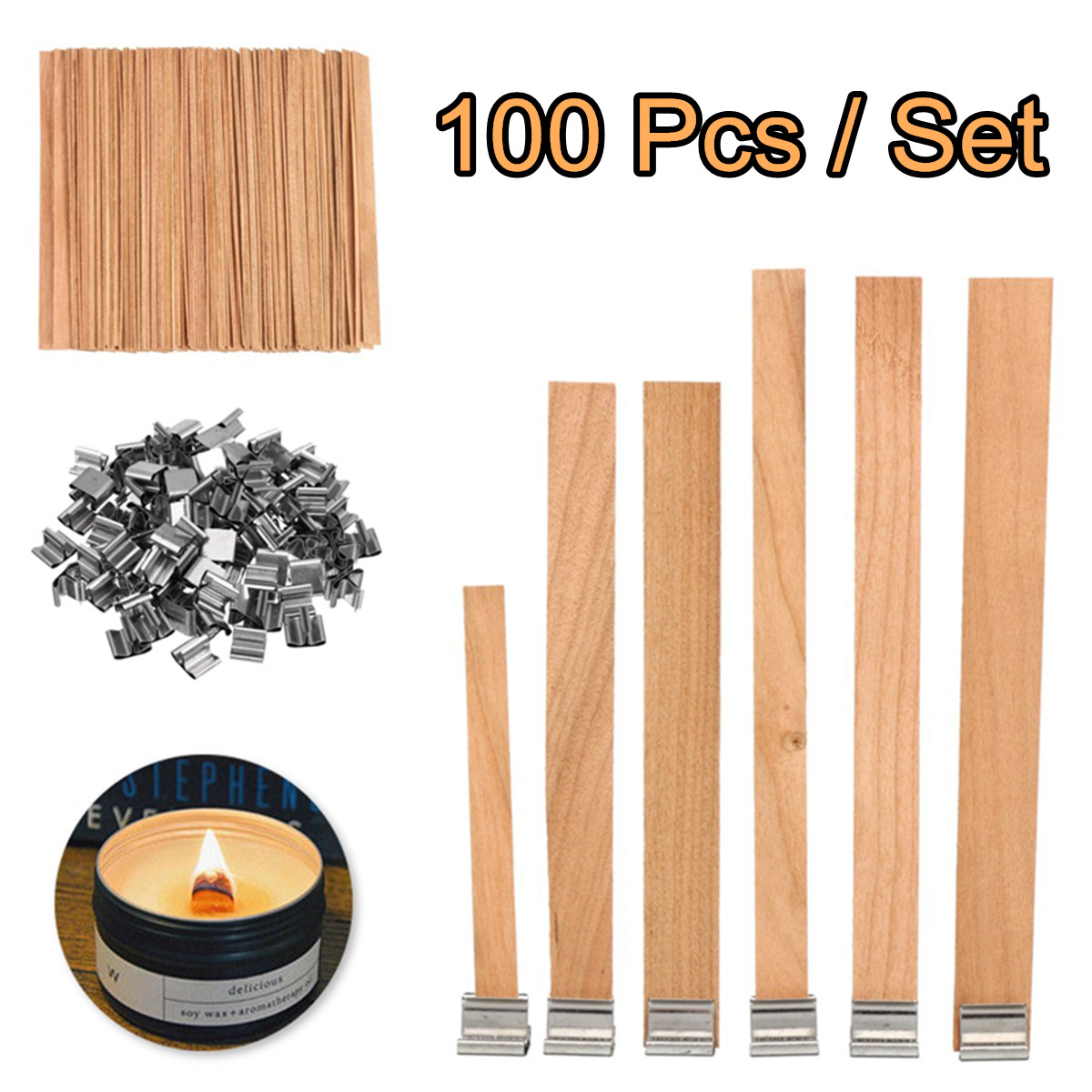 8mm 12.5mm 13mm 15mm Wooden Candles Wick With Sustainer Tab Candle Wick Core For Candle Making Supply Soy Parffin Wax 100Pcs