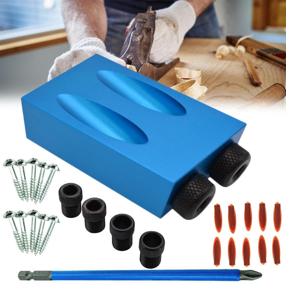 Tasche Loch Jig Kit 6/8/10mm Stick Adapter für Holzbearbeitung Winkel Bohren Löcher Guide Dübel Jig holz Werkzeuge Mit PH2 Schraubendreher
