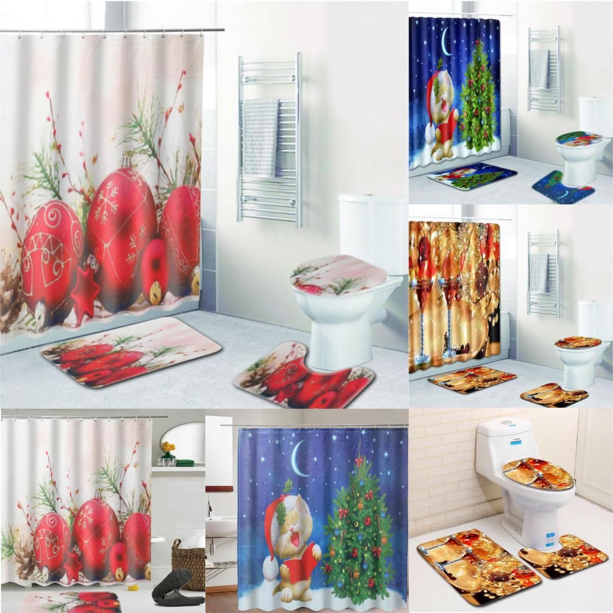 4pcs Set Christmas Bathroom Shower Curtains Set Anti Slip