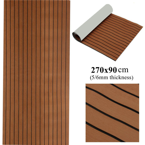 270x90cm EVA Foam Faux Teak Decking Sheet Dark Brown Marine Boat 5/6MMThick DIY Car Protective Floor Carpet270x90cm EVA Foam Faux Teak Decking Sheet Dark Brown Marine Boat 5/6MMThick DIY Car Protective Floor Carpet