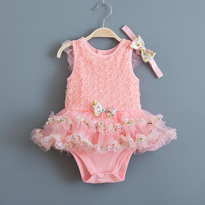 Flesh Color Newborn Baby Girl Dress Summer Rose Flowers Birthday Lace Kids Infant Dresses &Headband