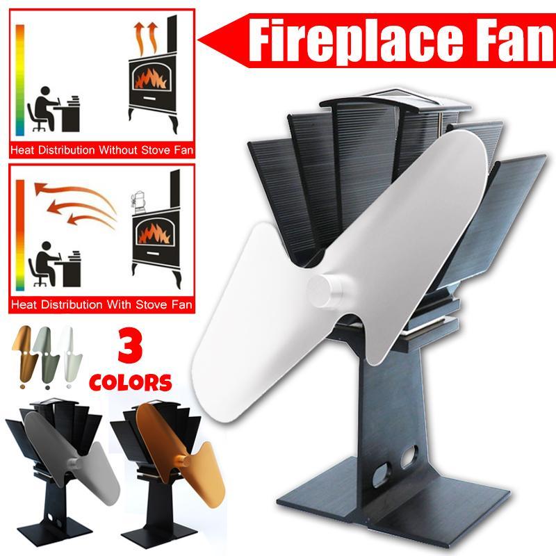 2 Blade Fireplace Heat Powered Stove Fan Komin Log Wood Burner Eco Friendly Quiet Fan Home Efficient Heat Distribution