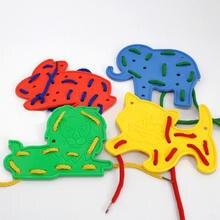 Детская Игрушка Животные шнуровка формы резьба шнурки образование поймать внимание