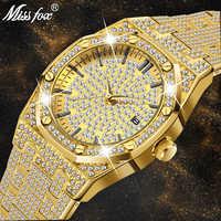 MISSFOX montre femmes montres de luxe marque 2019 18K or montre de mode calendrier dame diamant montre femme Quartz montres heure