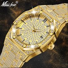 MISSFOX zegarek kobiet zegarki luksusowe marki 2020 18K złoty zegarek mody kalendarz diamentowy zegarek dla pań kobiet kwarcowe zegarki na rękę godziny