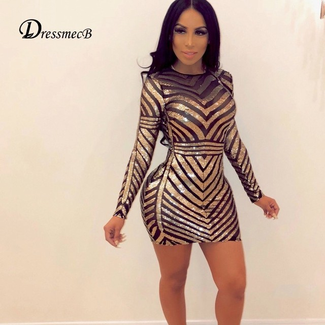 DRESSMECB 2019 Long Sleeve Autumn Dress Women O Neck Bodycon Mini Dresses  Gold Sequin Party Club Wear Summer Dress Vestidos 45e080e73801