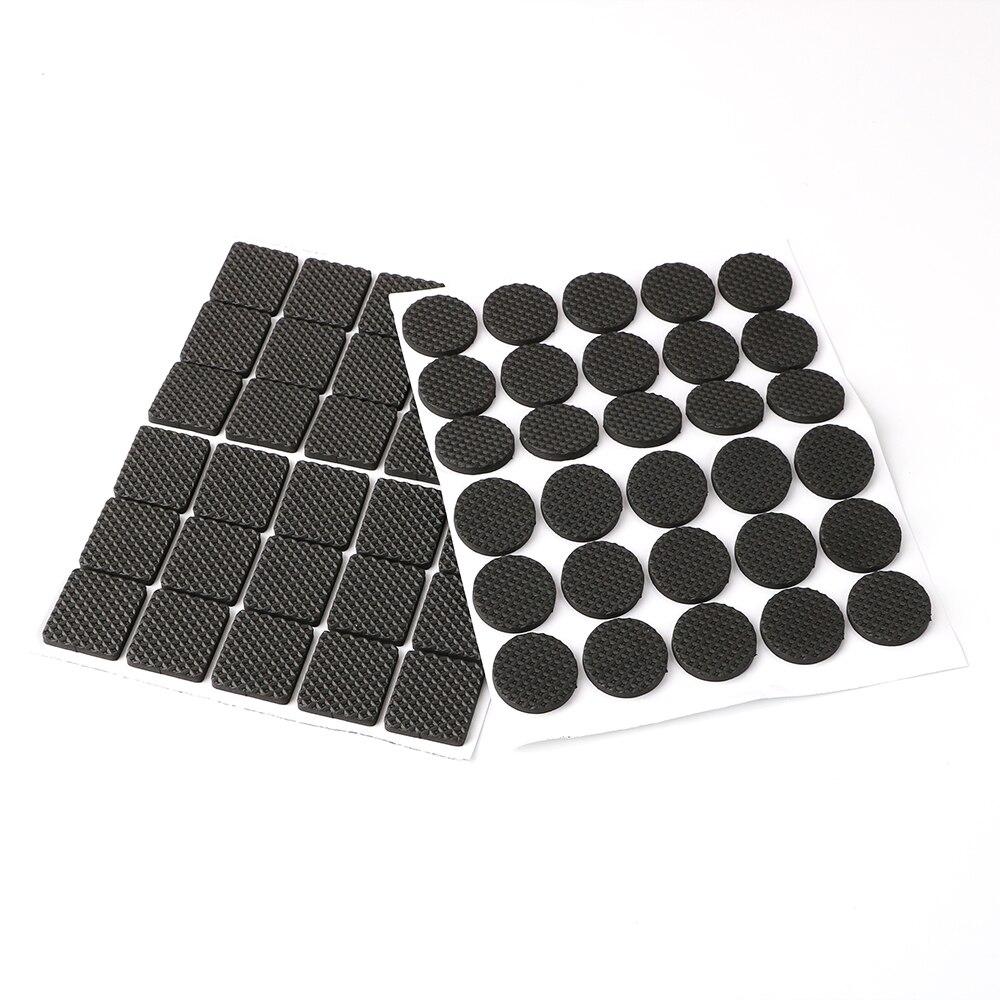 Black 30pcs Rubber Table Feet No-Slip Pad Round Square Sofa Chair Leg Sticky Pad Anti-skid Self Adhesive Furniture Leg Feet Mat