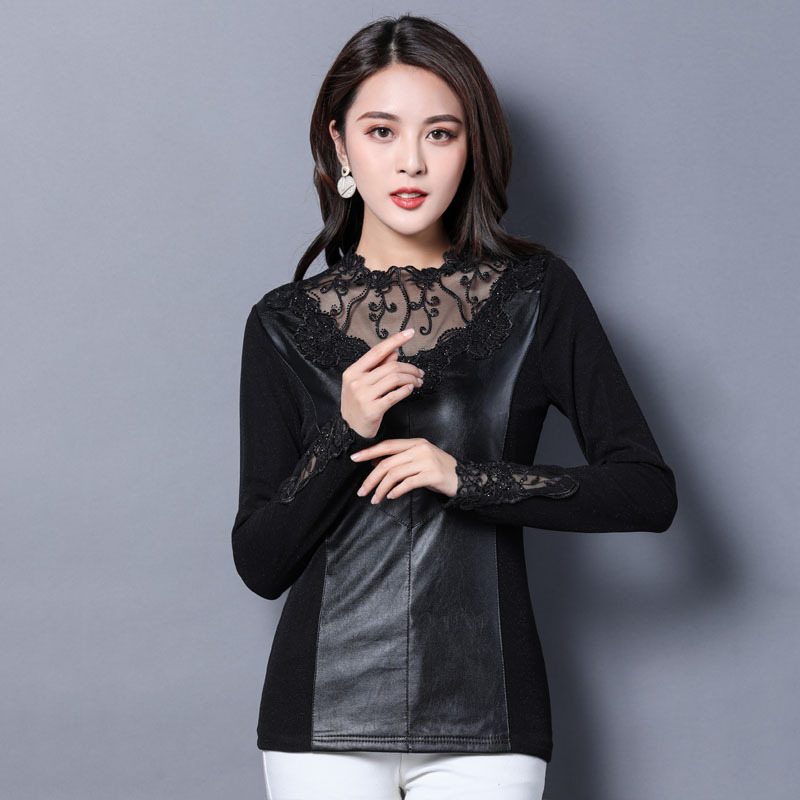1pcs Ladies Plus size blouses tops 2018 Winter Lace PU Leather Splicing Hollow thickening Primer shirt womens Retro Sexy shirts in Blouses amp Shirts from Women 39 s Clothing